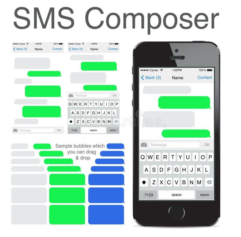 Iphone 5s som pratar smsmallbubblor stock illustrationer