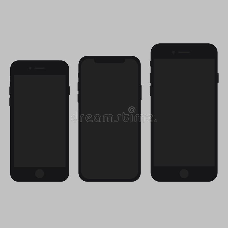 IPhone X, 7s, vettore più 7 piano fotografia stock
