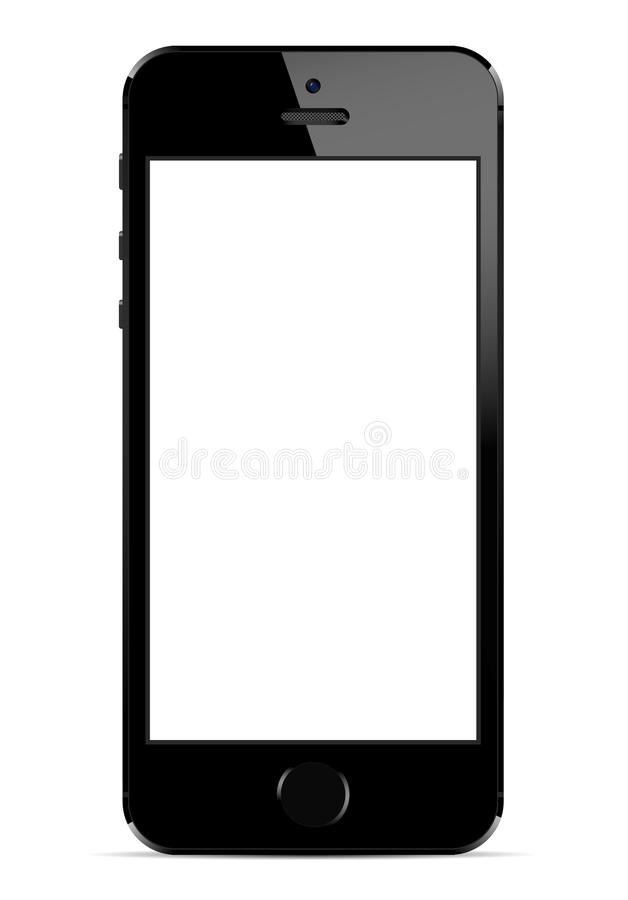 Iphone 5s. Iphone 5 with white screen, isolated on white. Vector illustration stock illustration