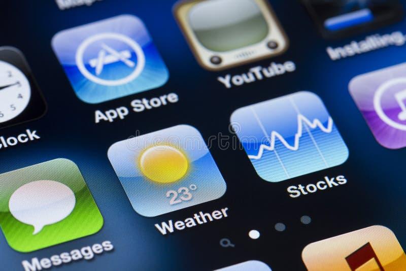 Iphone skärmapps royaltyfria bilder