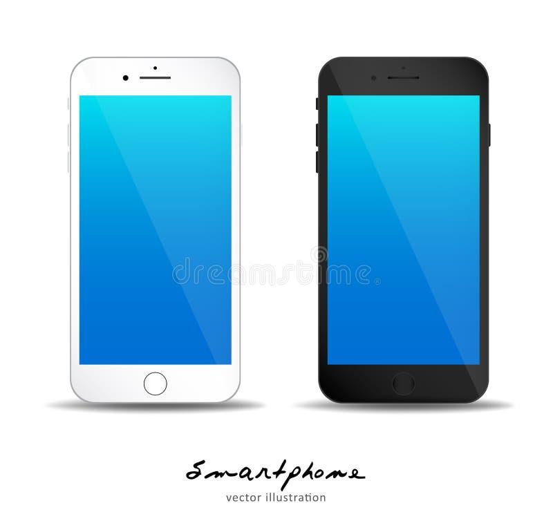 Iphone 7 vector illustration, black and white smart phone stock illustration
