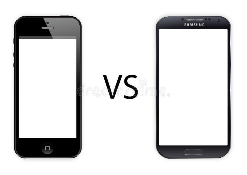 Iphone 5 versus Samsung-melkweg s4 stock afbeelding
