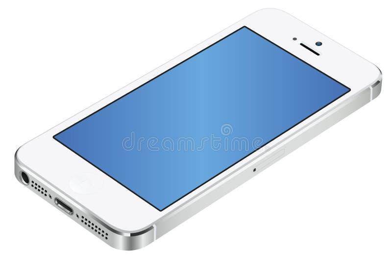 Iphone 5 vit 3d royaltyfri illustrationer