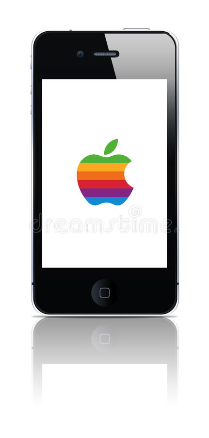 Download Iphone Whit Old Colored Logo Editorial Stock Photo - Image: 24032133