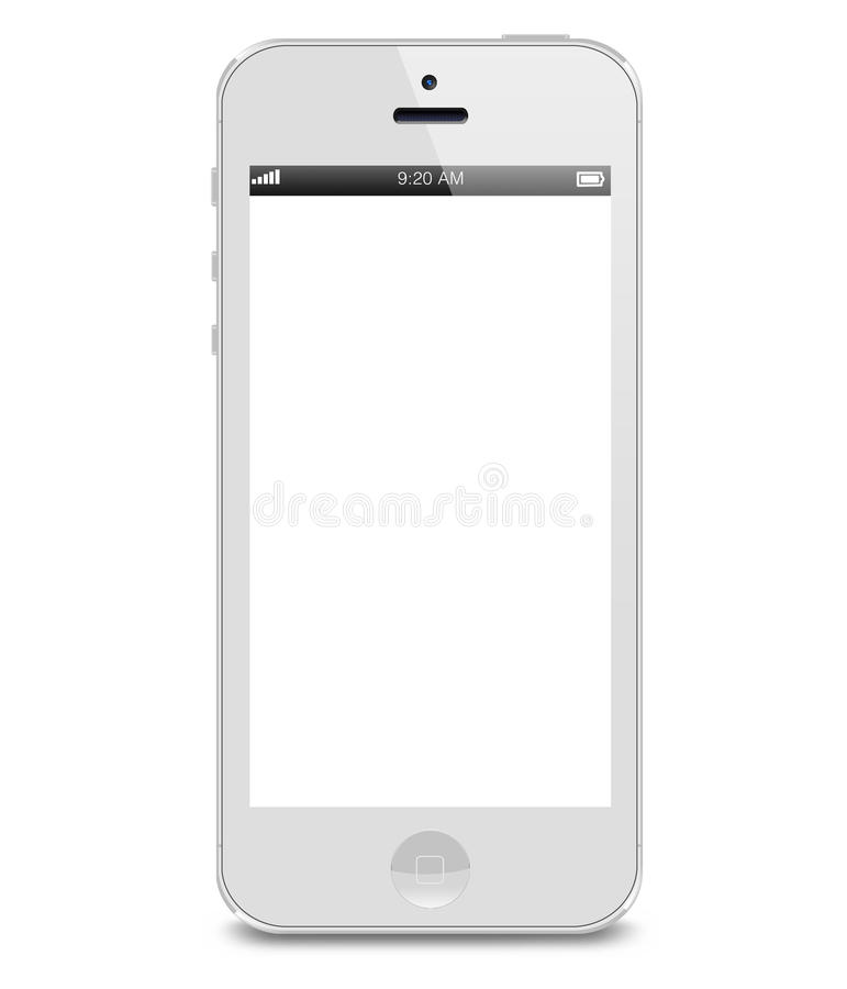 Iphone 5. White iPhone 5 showing a blank white screen with status bar. On white background Editorial use only
