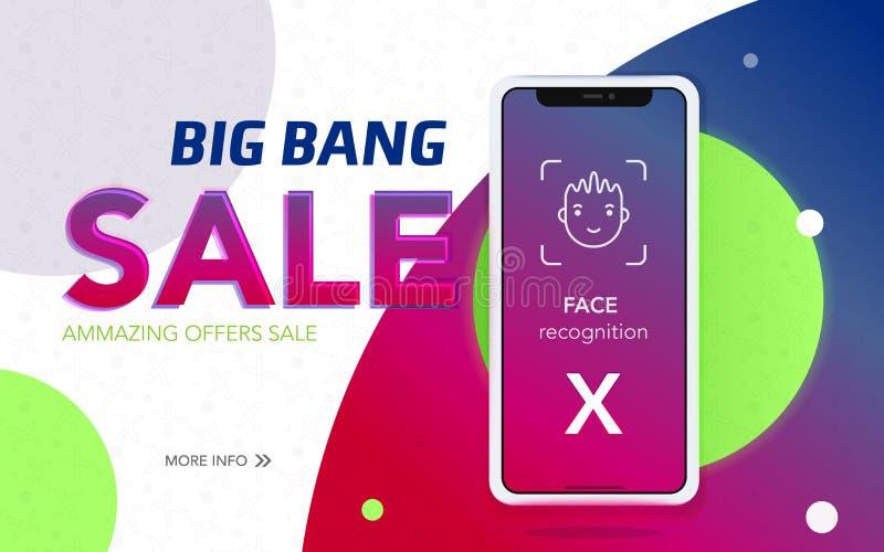 Iphone x销售横幅 向量例证