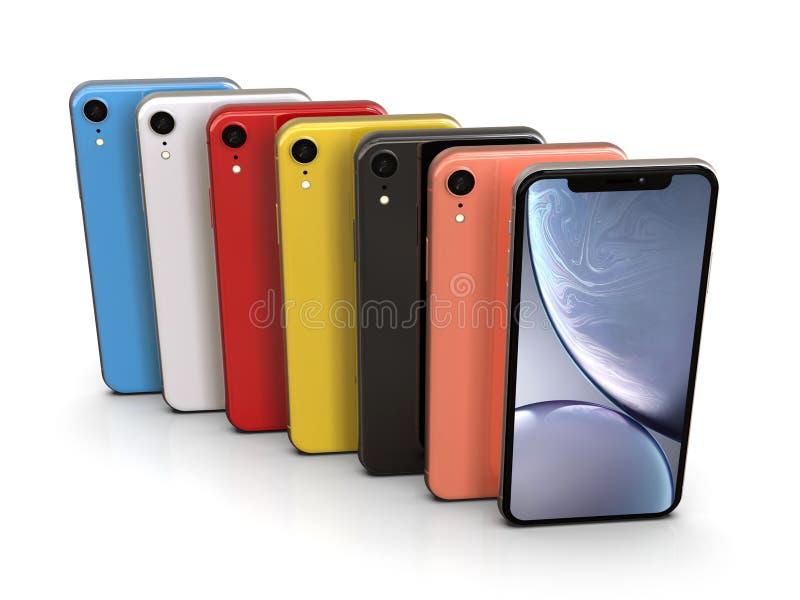 IPhone XR de Apple todos los colores, posición vertical, alineada stock de ilustración