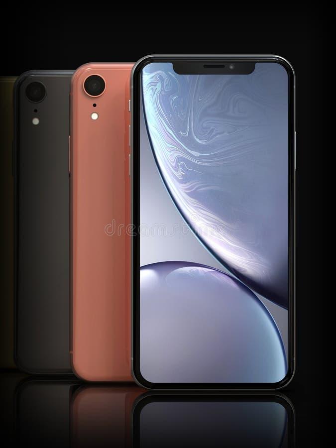 IPhone XR de plata, posición coralina, gris, vertical de Apple, alineada ilustración del vector
