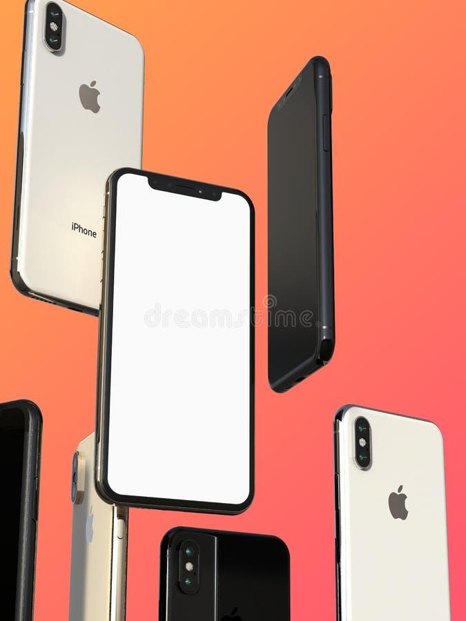 IPhone XS金、银和空间灰色智能手机,漂浮在空气,白色屏幕 库存例证