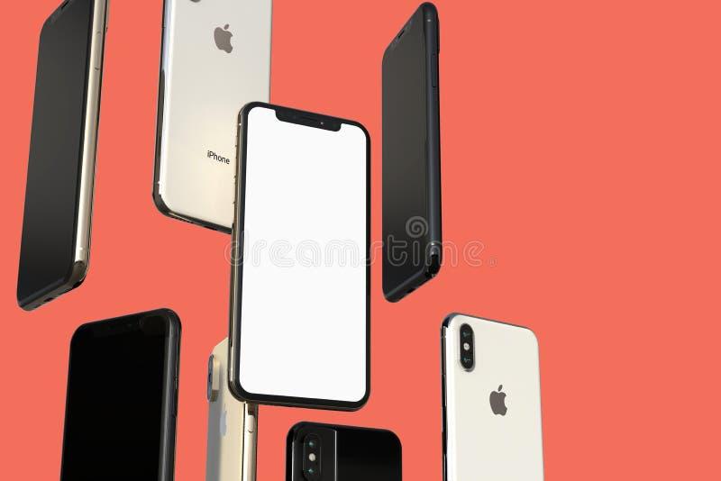 IPhone XS金、银和空间灰色智能手机,漂浮在空气,白色屏幕