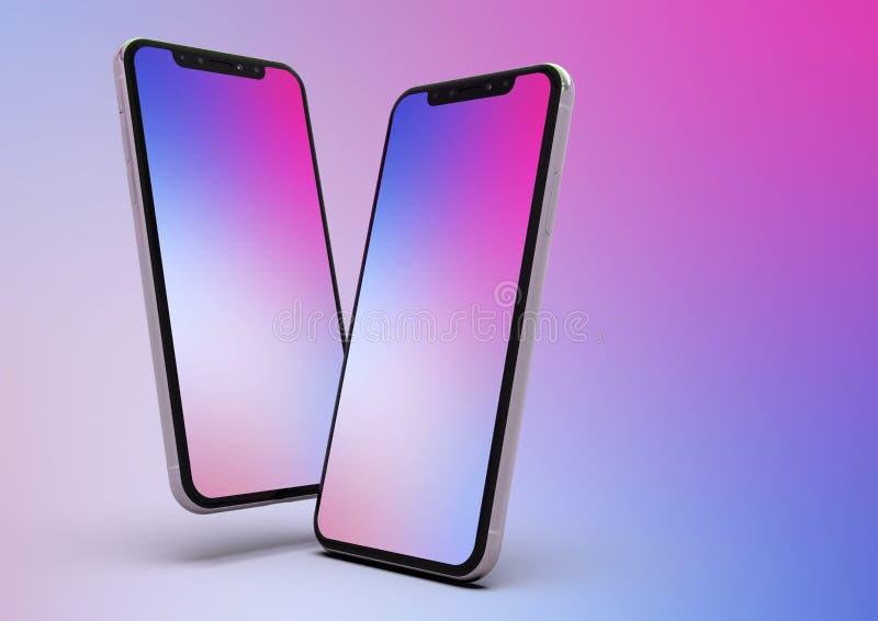 2 iPhone XS智能手机构成,紫色屏幕 向量例证