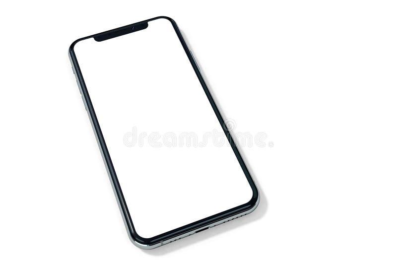 IPhone Xs银对白色的大模型透视 免版税库存照片