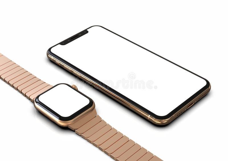 IPhone XS e o relógio de Apple aumentaram ouro com a tela branca para modelos ilustração do vetor