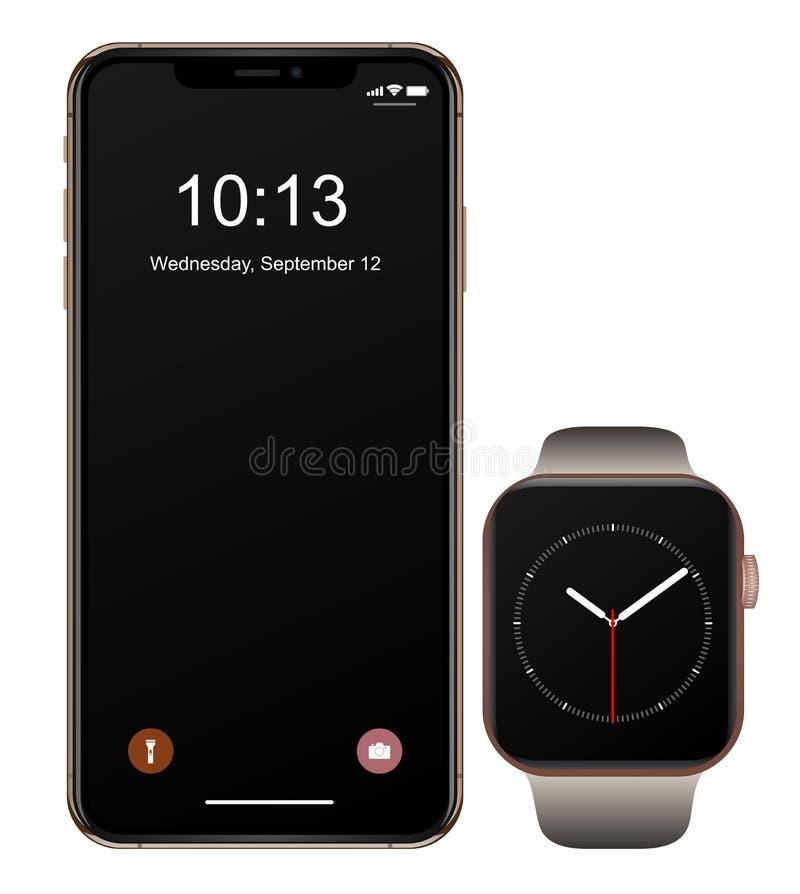 Iphone XS Jabłczany zegarek royalty ilustracja