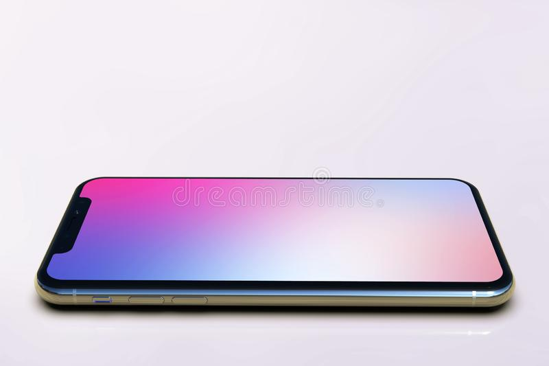 2 iPhone XS smart phones composition, purple screen. 2 Smartphones - Apple iPhone Xs Silver, arranged in compact facing composition, on a light background, with royalty free illustration