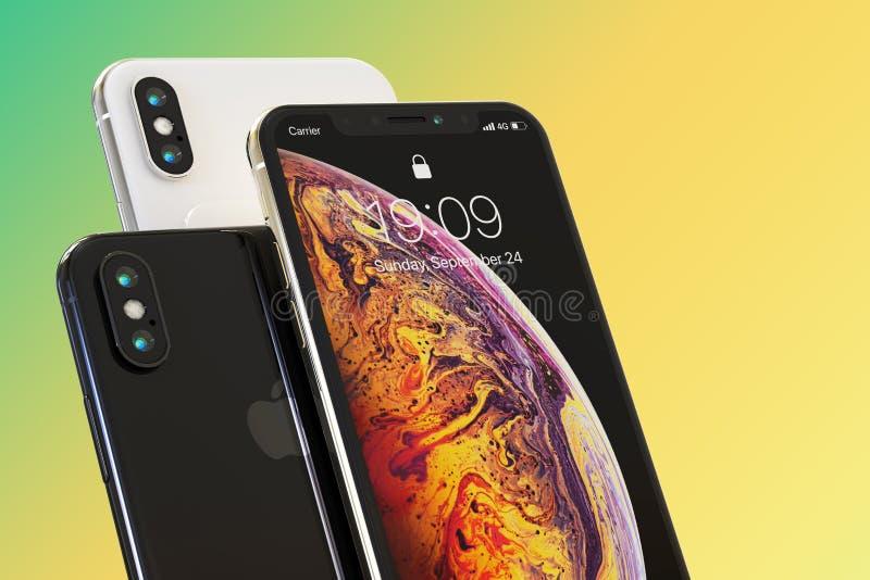 3 iPhone XS telefonów Jabłczany mądrze skład