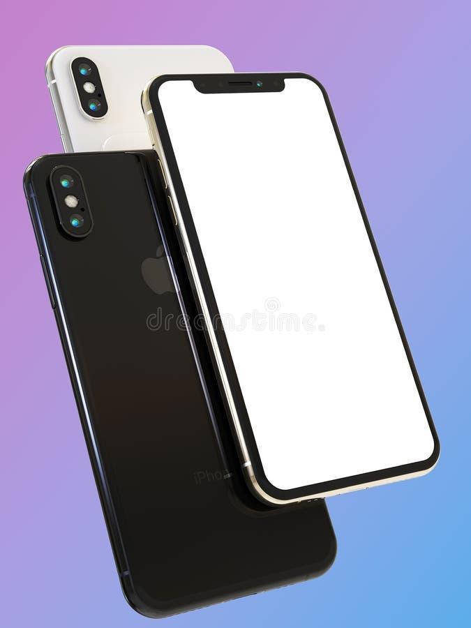 3 iPhone XS telefonów Jabłczany mądrze skład dla mockups