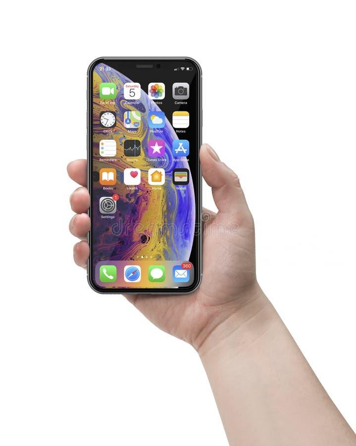 IPhone XS una nueva versión del smartphone de Apple fotografía de archivo libre de regalías