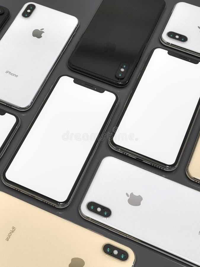 IPhone XS złota, srebra i przestrzeni Popielaci smartphones, mozaika skład obraz royalty free