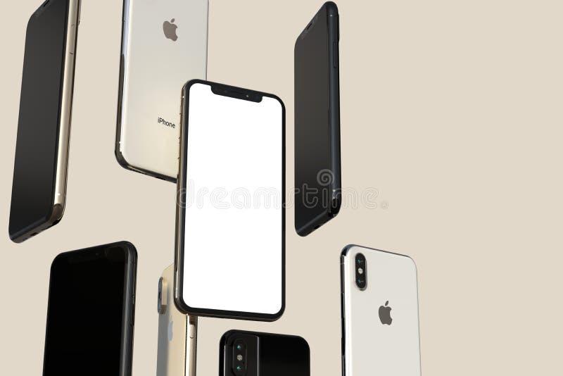 IPhone XS złota, srebra i przestrzeni Popielaci smartphones, unosi się w powietrzu, bielu ekran ilustracja wektor