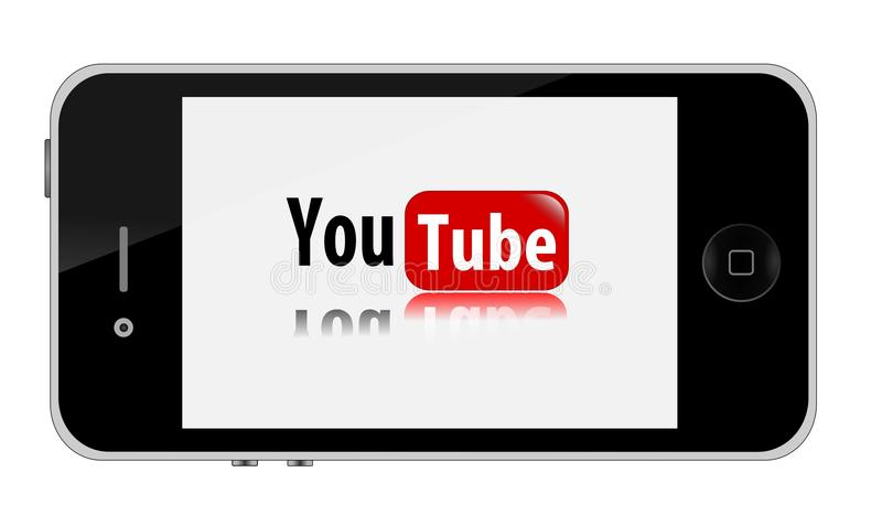 IPhone with youtube stock illustration