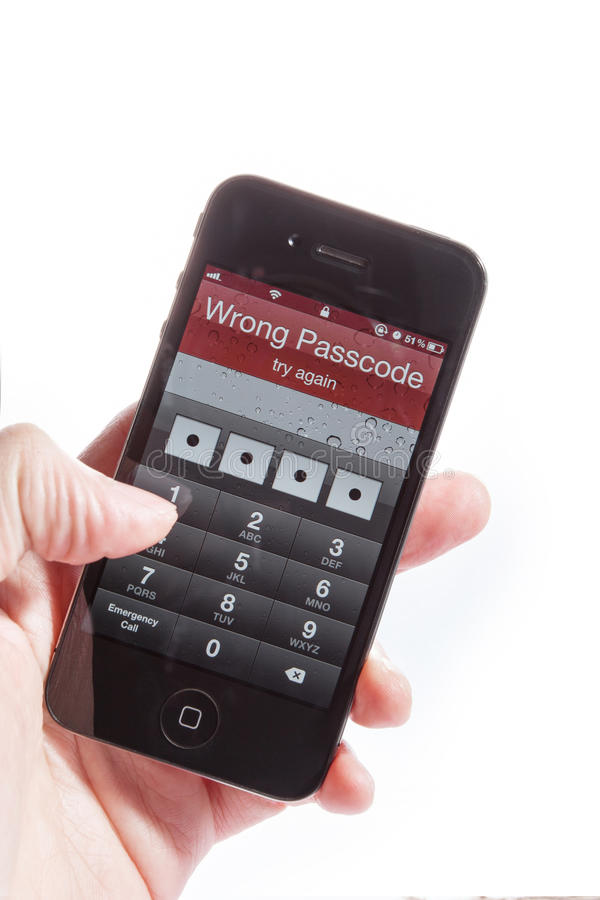 The iphone4S wrong password stock photos