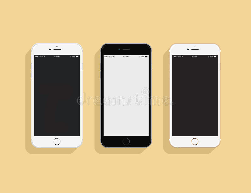 3 IPhones ilustração stock