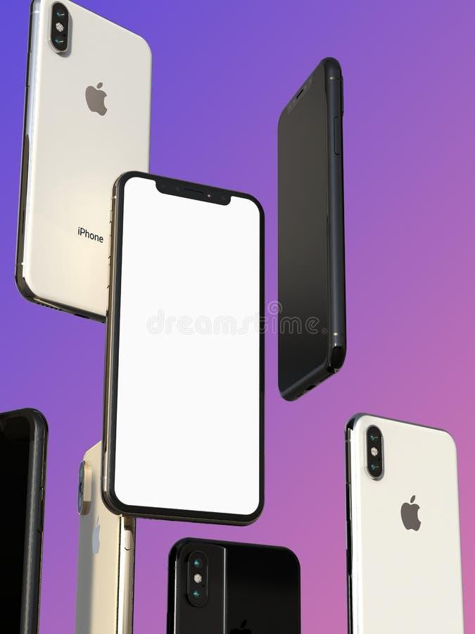 IPhonexs Gouden, Zilveren en Ruimte Grijze smartphones, die in lucht, het witte scherm drijven stock illustratie