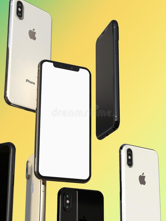IPhonexs Gouden, Zilveren en Ruimte Grijze smartphones, die in lucht, het witte scherm drijven vector illustratie