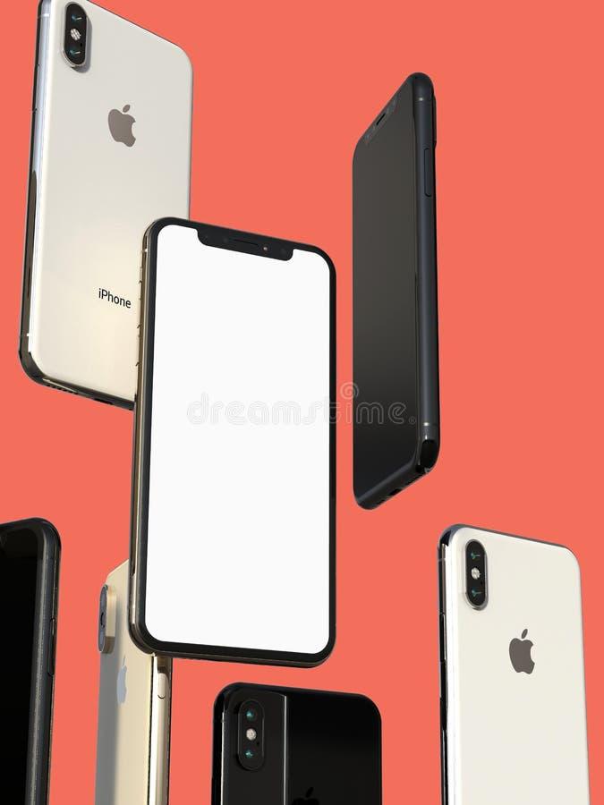 IPhonexs Gouden, Zilveren en Ruimte Grijze smartphones, die in lucht, het witte scherm drijven royalty-vrije illustratie