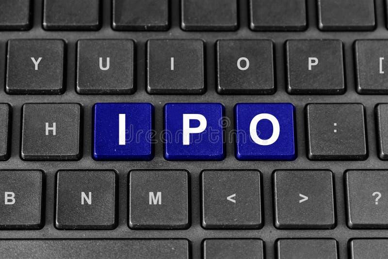 IPO of aanvankelijk openbaar aanbiedend woord op toetsenbord stock afbeelding