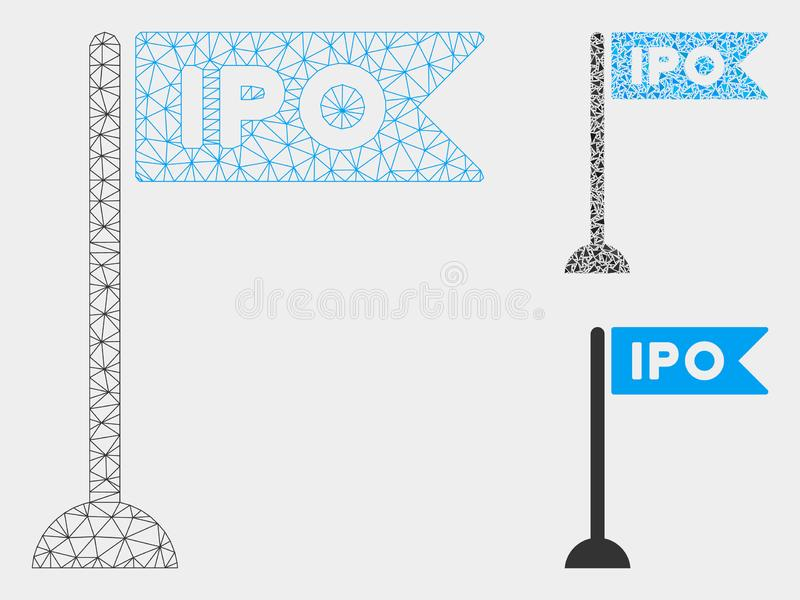 IPO Flag Marker Vector Mesh 2D Model and Triangle Mosaic Icon. Mesh IPO flag marker model with triangle mosaic icon. Wire carcass triangular mesh of IPO flag stock illustration