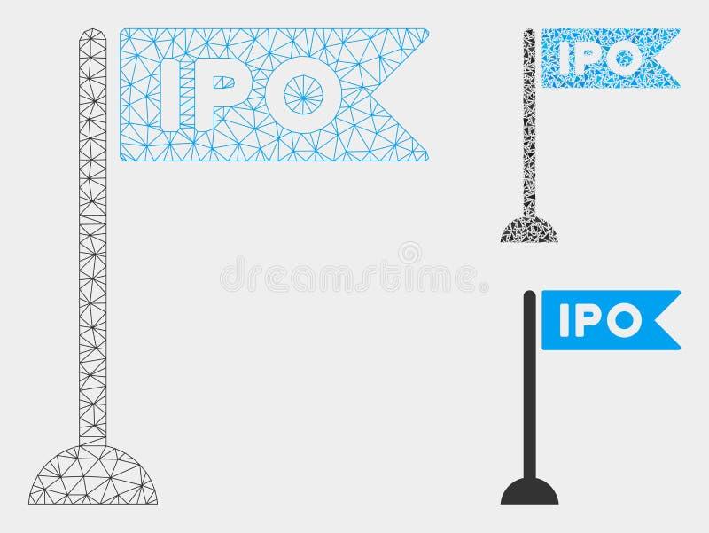 IPO-het Vector het Netwerk 2D Model van de Vlagteller en Pictogram van het Driehoeksmozaïek stock illustratie
