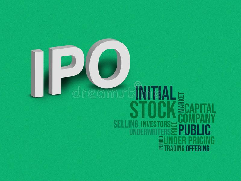 IPO, illustrazione iniziale del concetto di offerta pubblica, sfondo verde immagini stock