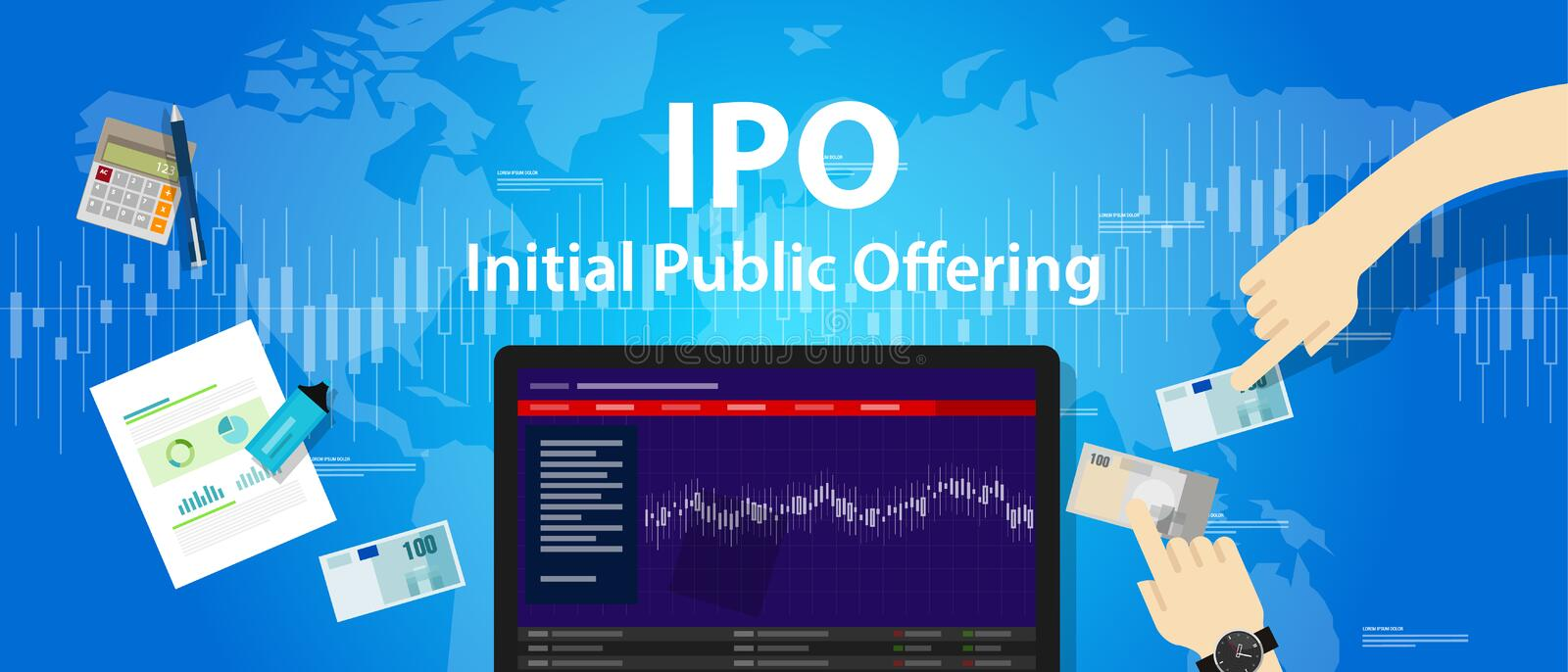IPO initial public offering stocks market company stock illustration
