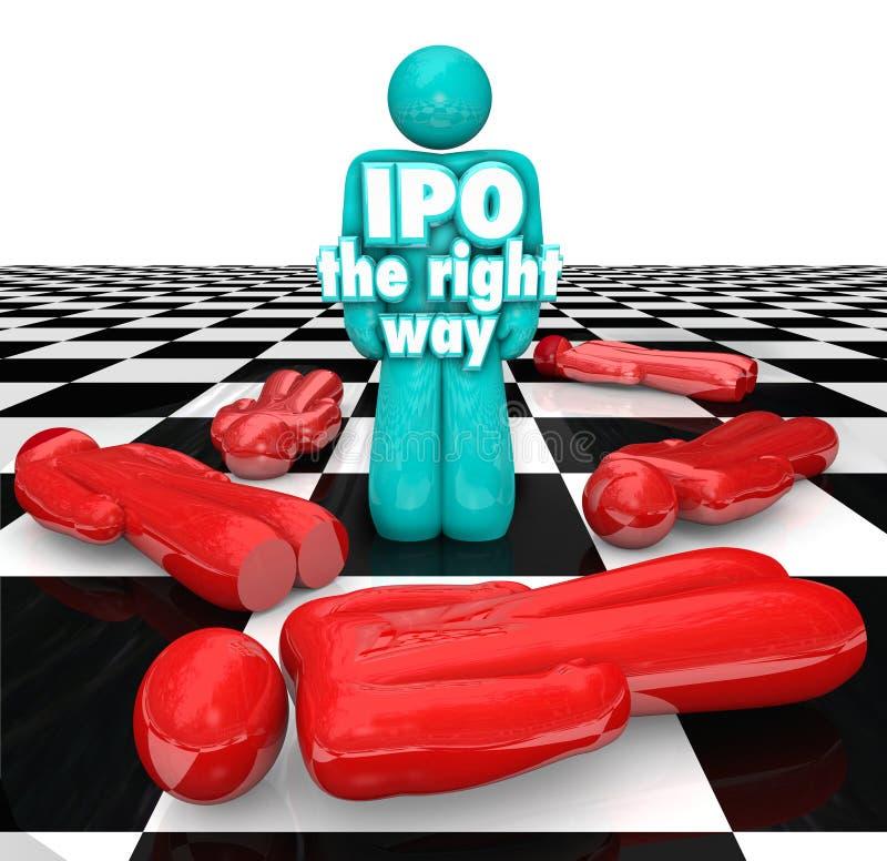 IPO Prawy sposobu przedsiębiorca Stoi Pomyślnego Początkowego Publi ilustracja wektor
