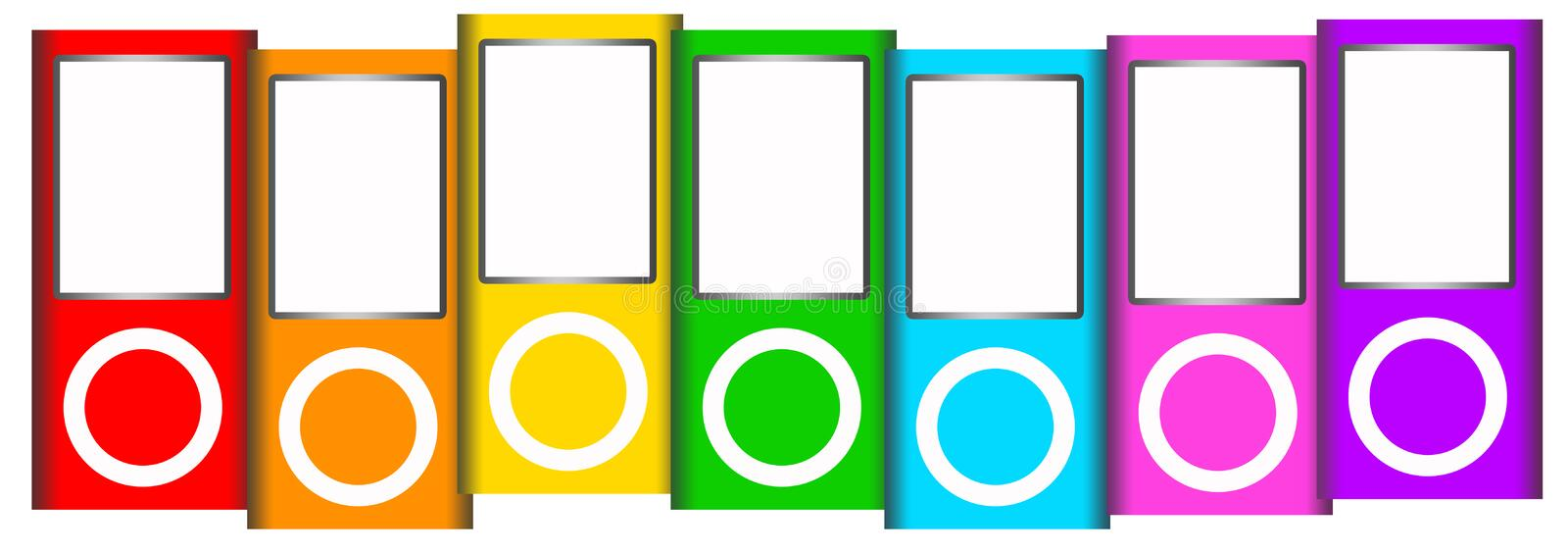 Ipod. Apple iPods in different colors