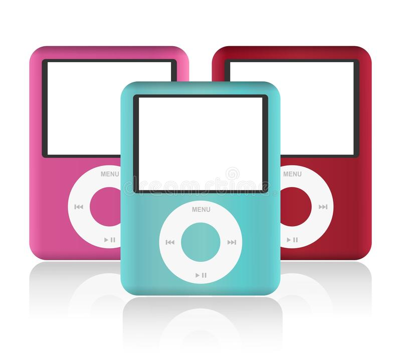 IPod classic. Colored iPods on a white background