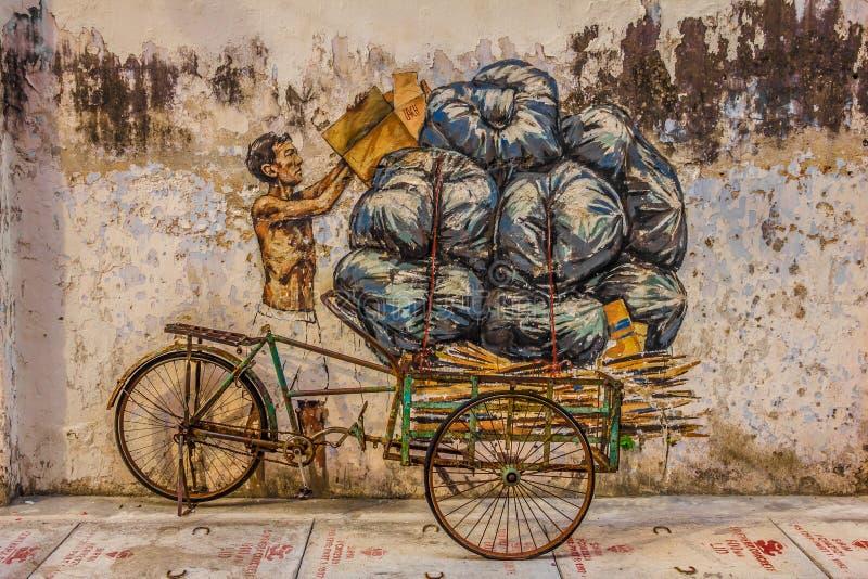 IPOH, MALÁSIA - 4 de março de 2019: Pintura de arte de rua em Ipoh fotografia de stock royalty free