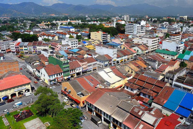 Ipoh Oude Stad - Luchtmening stock afbeelding