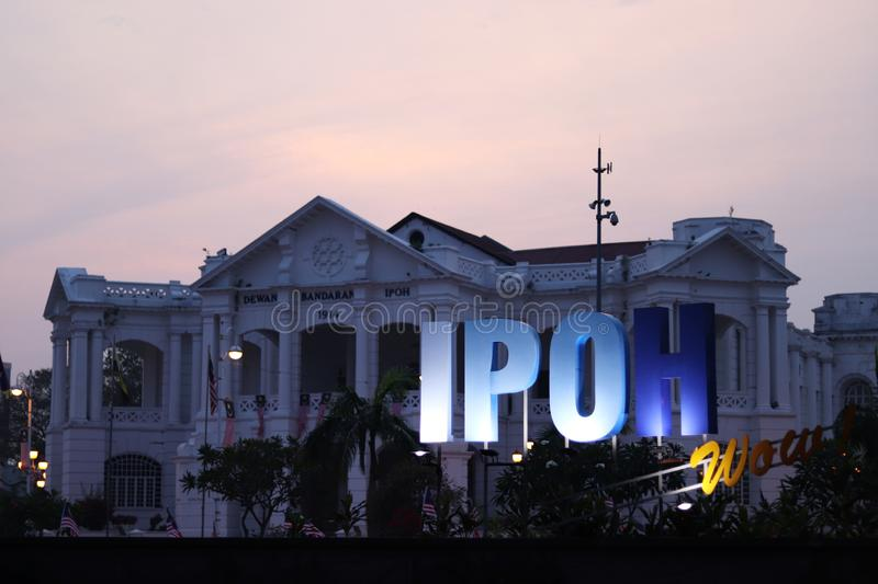 Ipoh Wow! Sign At The Ipoh Railway Station stock photography