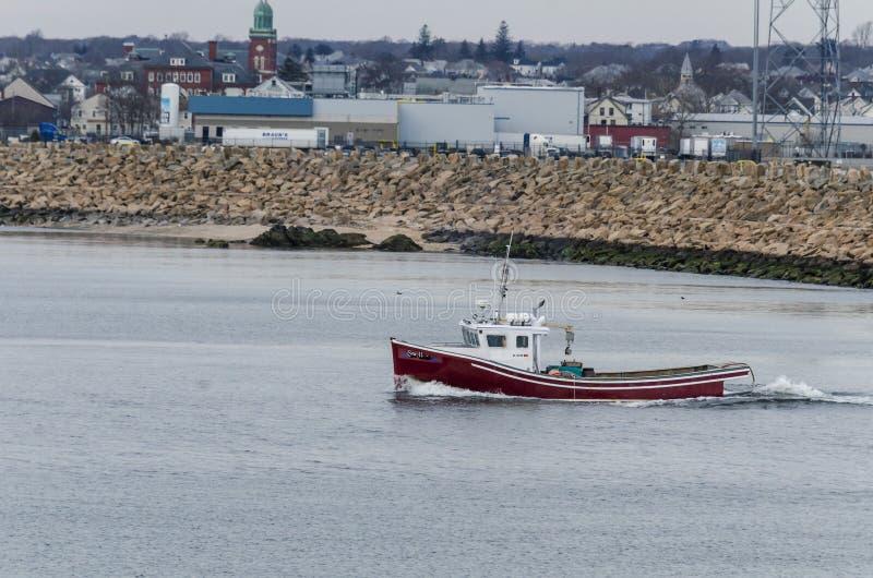 Ippocampo della barca dell'aragosta con la barriera di uragano nel fondo fotografie stock libere da diritti