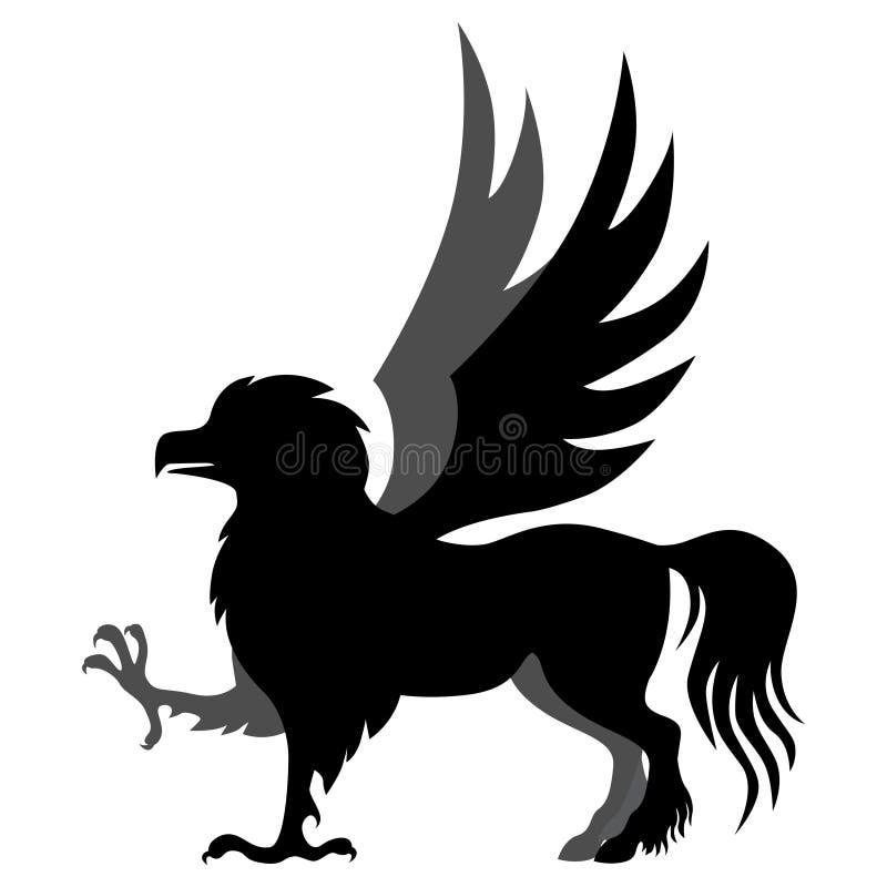 Ippogrifo della siluetta illustrazione di stock