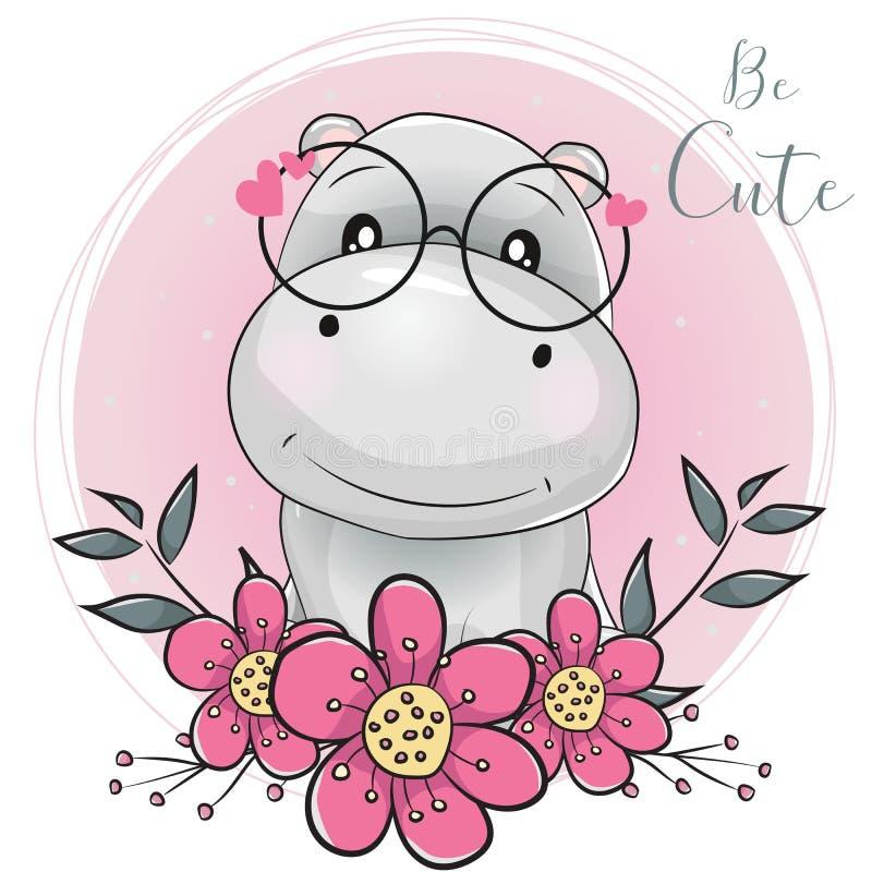 Ippopotamo sveglio del fumetto con i fiori con fondo rosa illustrazione vettoriale