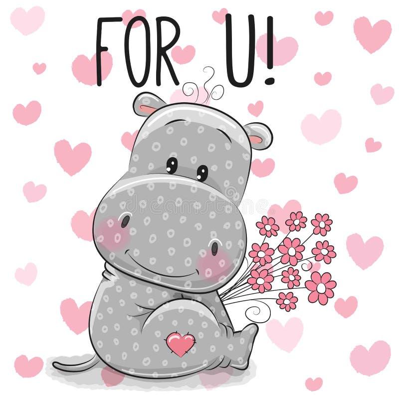 Ippopotamo sveglio del fumetto della carta del biglietto di S. Valentino con i fiori illustrazione vettoriale