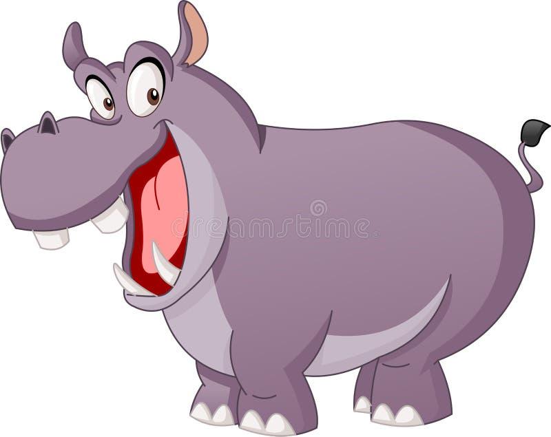 Ippopotamo sveglio del fumetto Illustrazione di vettore dell'ippopotamo felice divertente illustrazione vettoriale