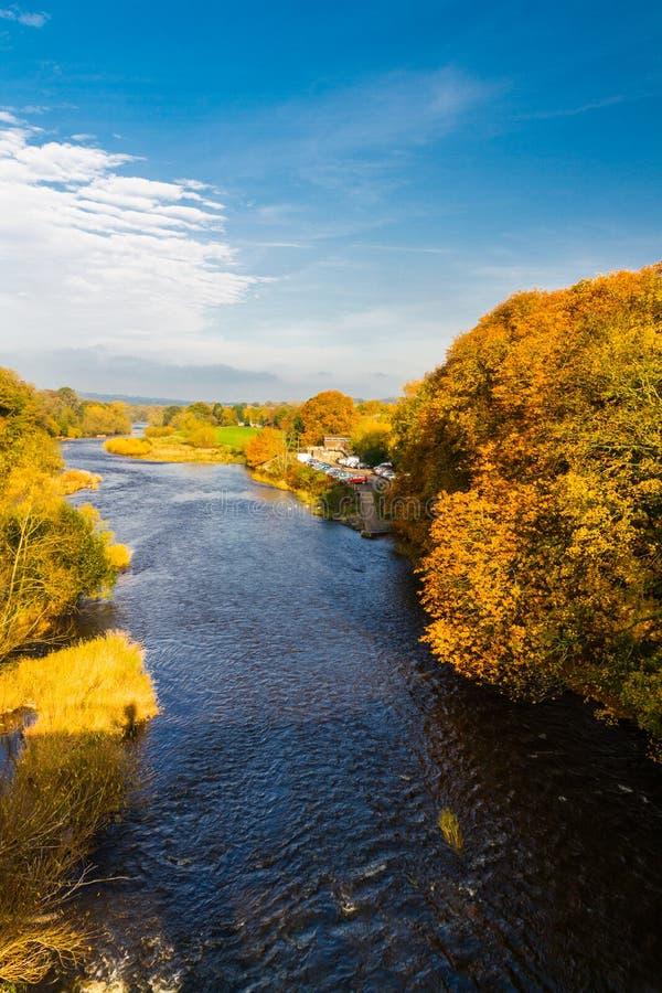 Ipsilon del fiume in autunno a fieno sull'ipsilon immagini stock libere da diritti