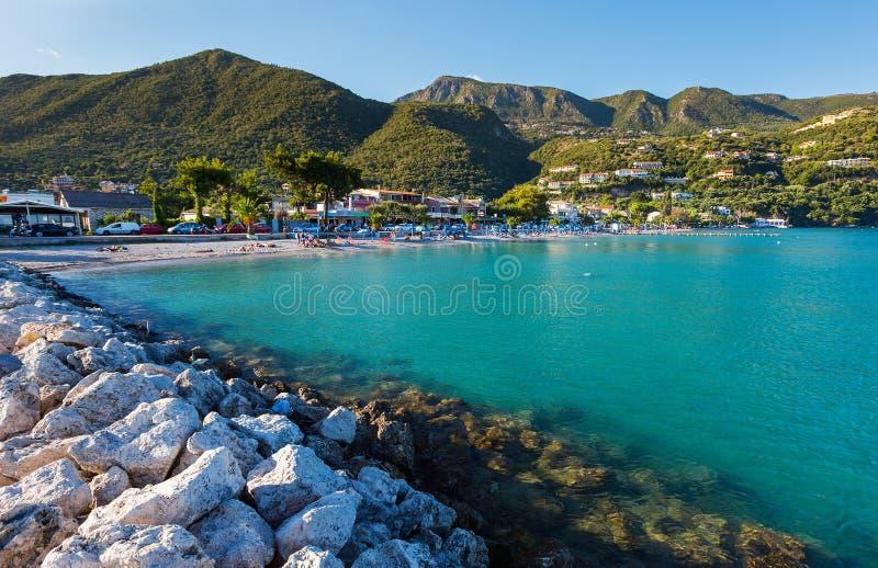 Ipsos海滩,科孚岛 库存图片