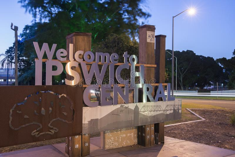Ipswich, Australia - Tuesday 16th January 2018: View of the Ipswich City welcome sign and traffic at night on Tuesday 16th January stock photos