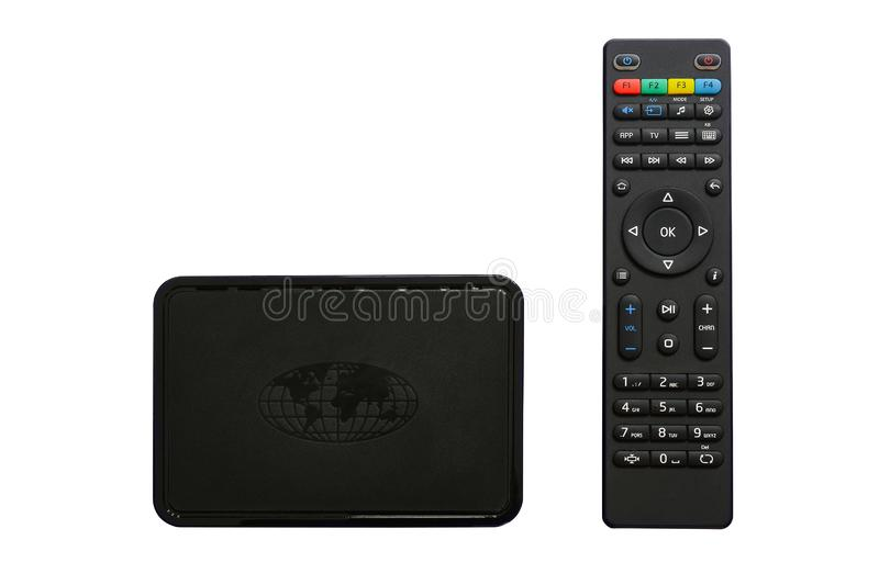 Iptv box and remote controller. Modern multimedia device for viewing television via the Internet, multimedia player and control. Panel. Isolated, white stock images